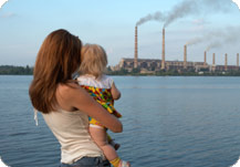 Family watches smokestack