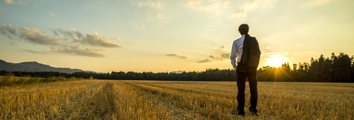 Suited man in field