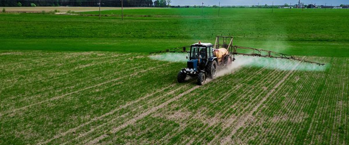 Spraying pesticides soy