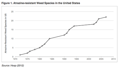 Atrazine-resistant weed species inthe United States