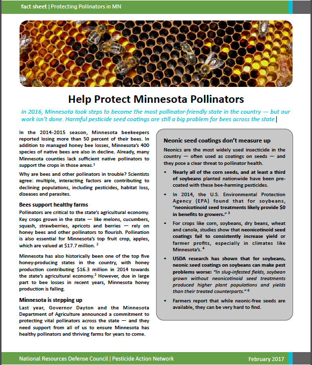 Minnesota Pollinators factsheet
