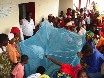 Crowd around bednet in Africa